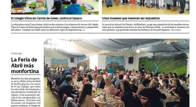 El Lar Gallego brinda homenaje a Monforte de Lemos en su caseta de la Feria de Abril
