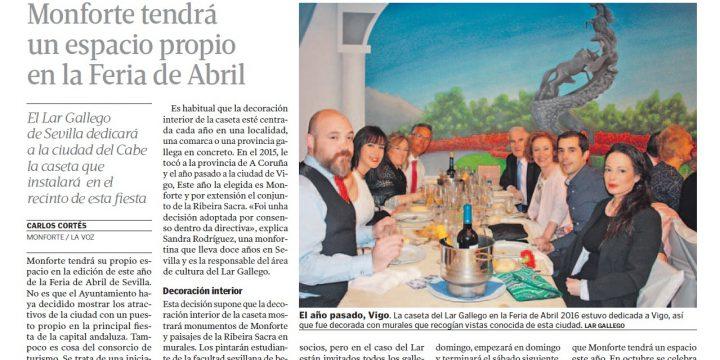 El Lar Gallego de Sevilla tendrá como protagonista a Monforte de Lemos en la Feria de Abril