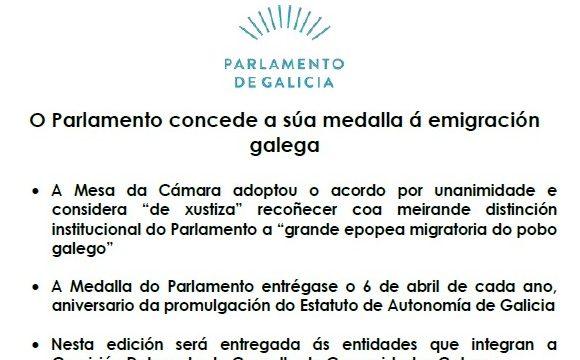 El Parlamento Gallego concede su Medalla a la Emigración Gallega